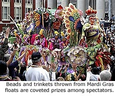 Beads and trinkets thrown from Mardi Gras floats are coveted prizes
