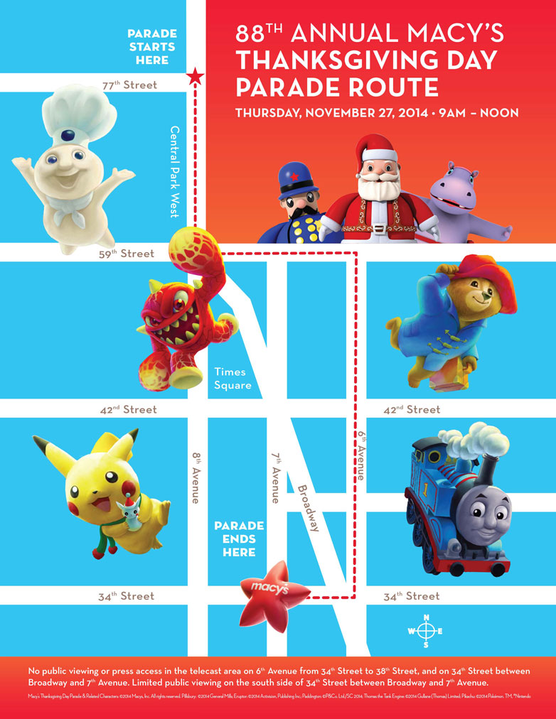 Marching Com 2014 Macy S Thanksgiving Day Parade Lineup And Parade Route Map