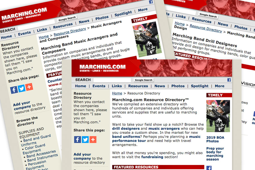 Marching Com Resource Directory Find Services And Supplies For Marching Bands